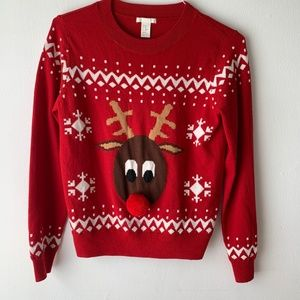 H&M Christmas Red Reindeer Sweater
